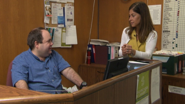 Suzanne Ford consults with Jordan Edwards about better awareness for Asperger's Syndrome in the federal workplace. (CBC)
