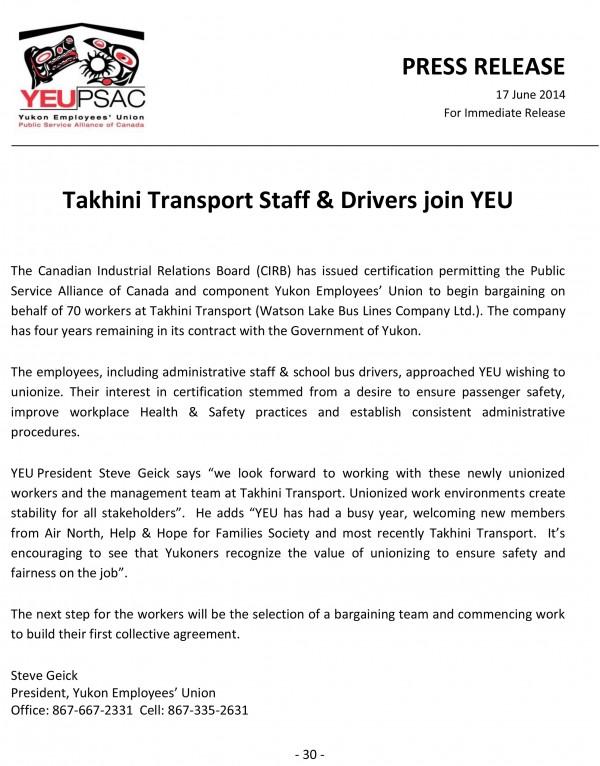 Takhini Transport Certifies PRESS RELEASE